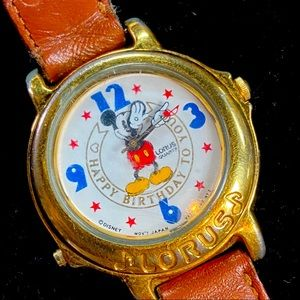 Vintage Disney Mickey Mouse Happy Birthday Sogn Wristwatch